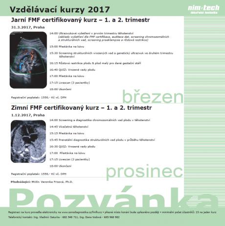 POZVÁNKA na FMF certifikované kurzy -  1.12.2017 zimní kurz  - 1. a 2. trimestr